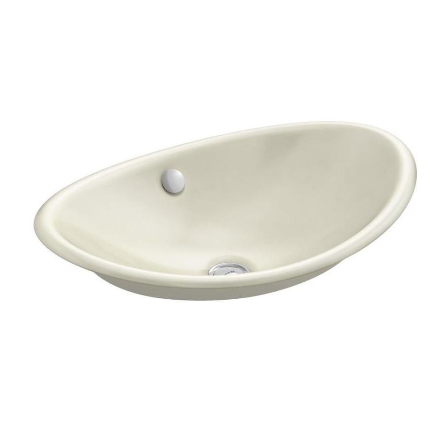 KOHLER Iron Plains Cane Sugar Cast Iron Vessel Oval Bathroom Sink with Overflow