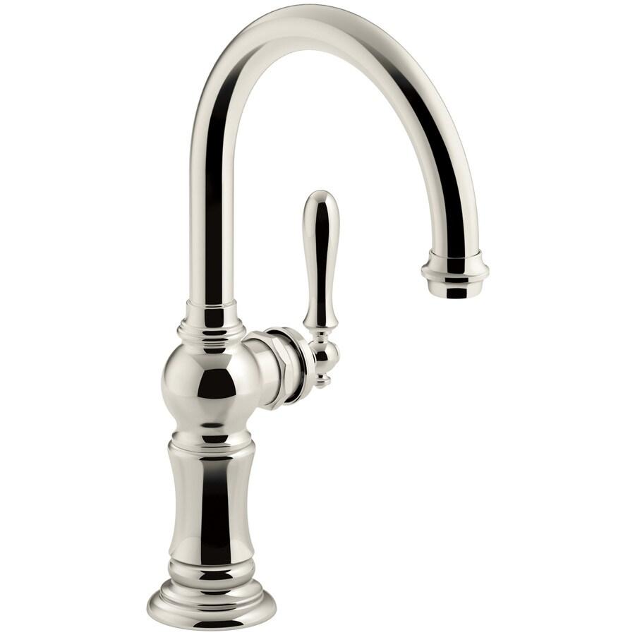 Shop Kohler Artifacts Vibrant Polished Nickel 1 Handle High Arc Kitchen Faucet At