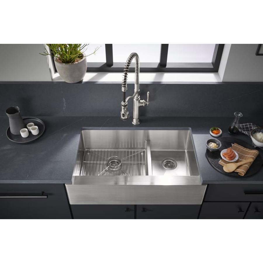 KOHLER Strive 21.25-in x 35.5-in Stainless Steel Double-Basin Stainless Steel Apron Front/Farmhouse Residential Kitchen Sink
