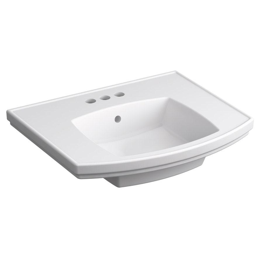 KOHLER Elliston 19.87-in L x 23.75-in W White Vitreous China Rectangular Pedestal Sink Top