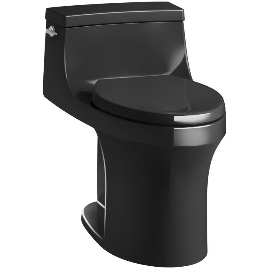 KOHLER San Souci Black Black 1.28-GPF (4.85-LPF) 12 Rough-In WaterSense Elongated 1-Piece Standard Height Toilet