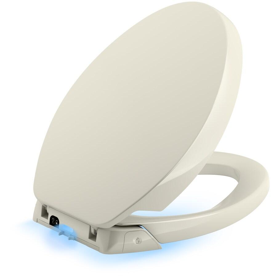 KOHLER Purefresh Nightlight White Plastic Elongated Slow-Close Toilet Seat