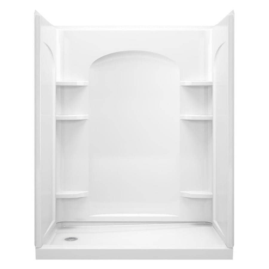 Sterling Ensemble White Vikrell Wall and Floor 4-Piece Alcove Shower Kit (Common: 32-in x 60-in; Actual: 72.5-in x 32-in x 60-in)