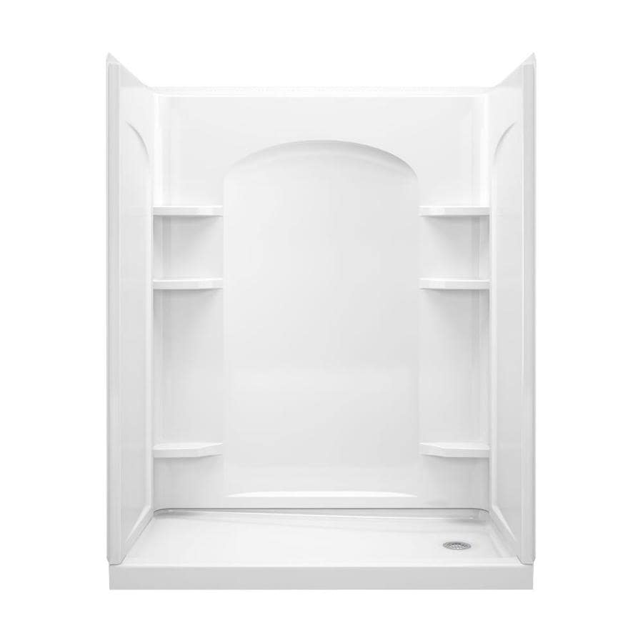 Sterling Ensemble White Vikrell Wall and Floor 4-Piece Alcove Shower Kit (Common: 60-in x 32-in; Actual: 76-in x 60-in x 32-in)