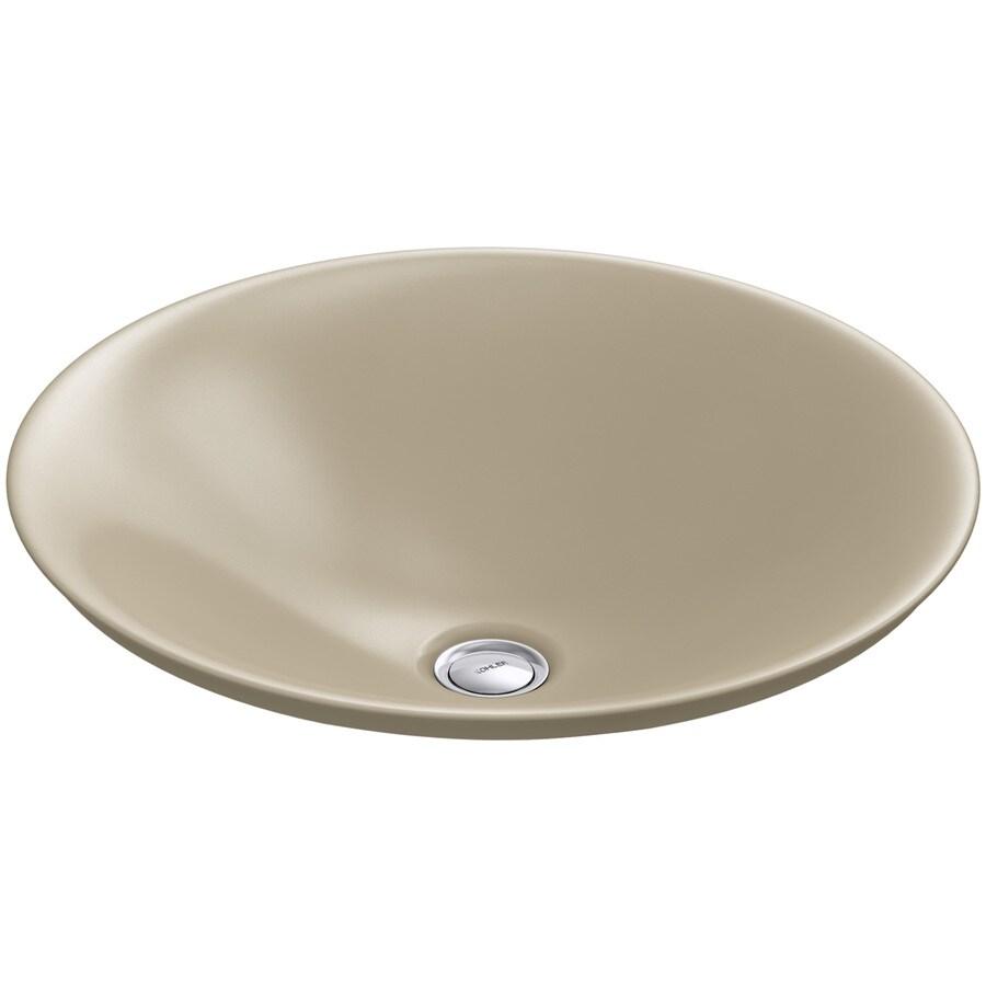 shop kohler carillon mexican sand vessel rectangular bathroom sink at