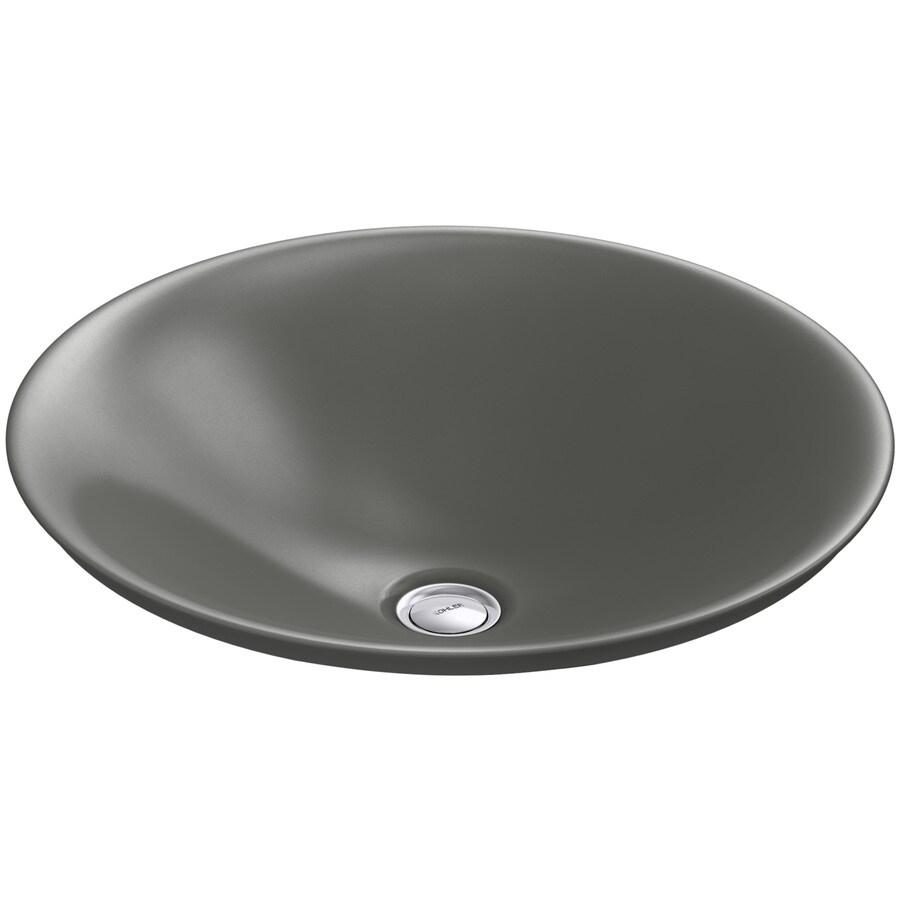 KOHLER Carillon Thunder Grey Vessel Rectangular Bathroom Sink