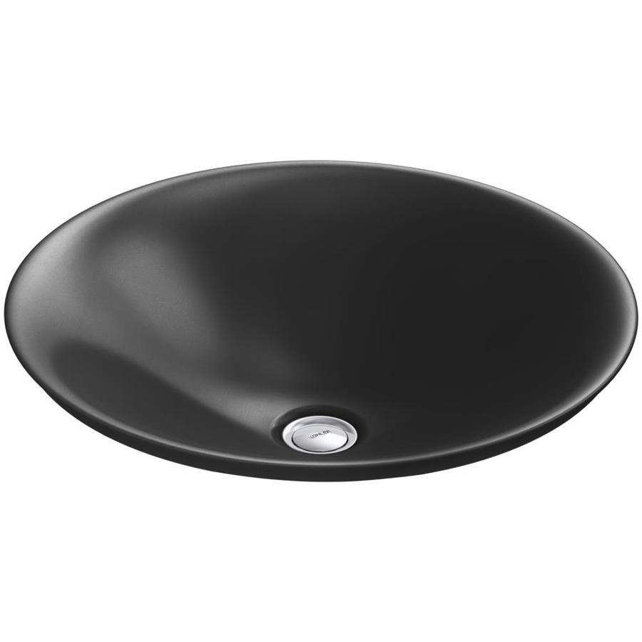 KOHLER Carillon Black Vessel Rectangular Bathroom Sink