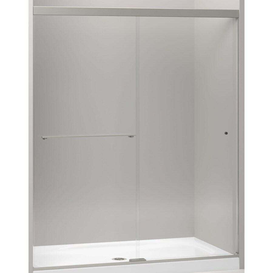 KOHLER Revel 56.625-in to 59.625-in W x 70-in H Brushed Nickel Sliding Shower Door