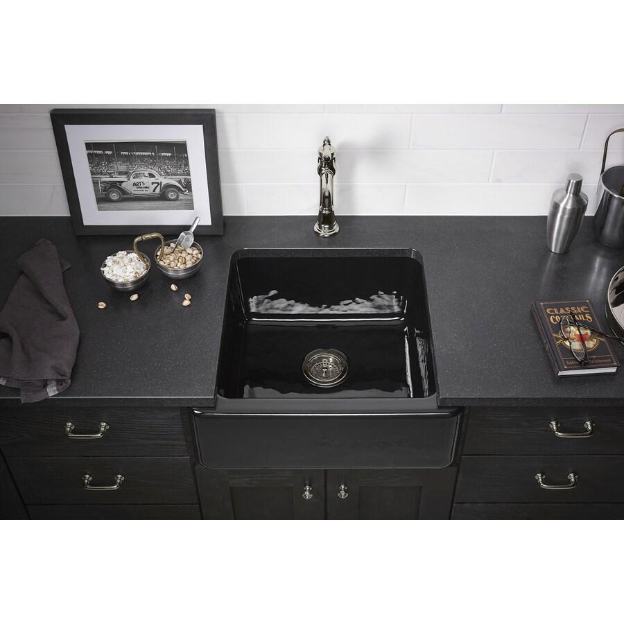 KOHLER Whitehaven 21.56-in x 23.5-in Black Black Single-Basin Cast Iron Apron Front/Farmhouse Residential Kitchen Sink
