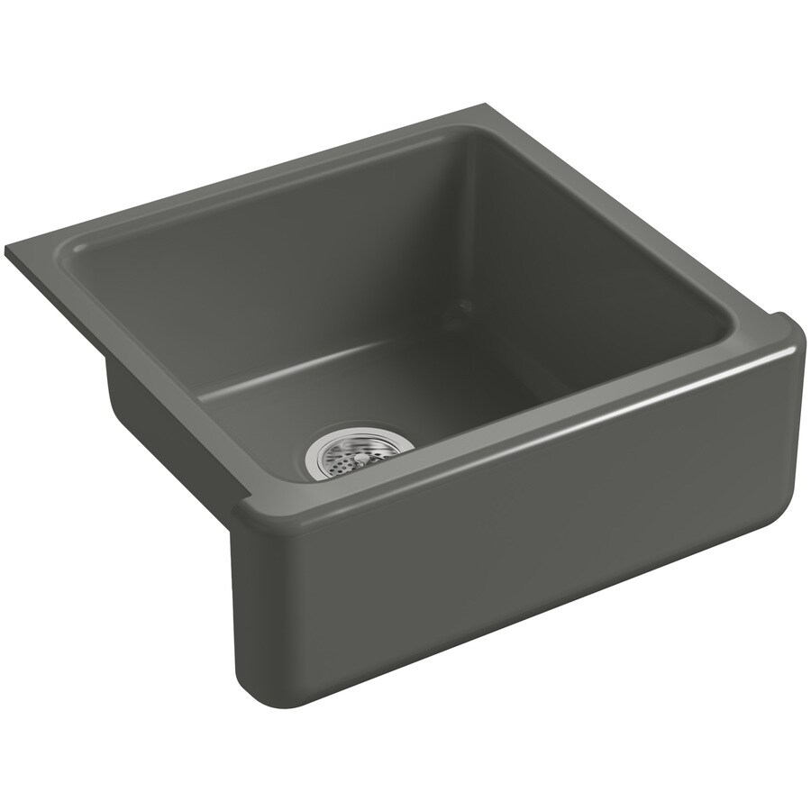 KOHLER Whitehaven 21.56-in x 23.5-in Thunder Grey Single-Basin Cast Iron Apron Front/Farmhouse Residential Kitchen Sink