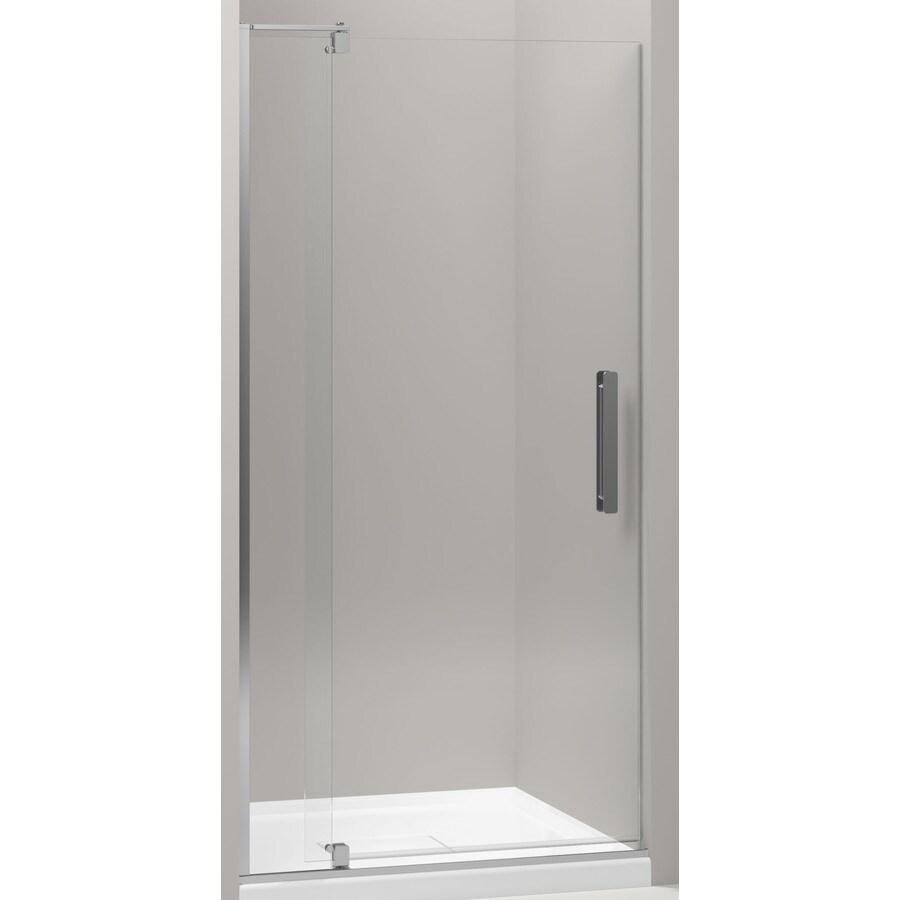 KOHLER Revel 35.125-in to 40-in Bright Polished Silver Frameless Pivot Shower Door