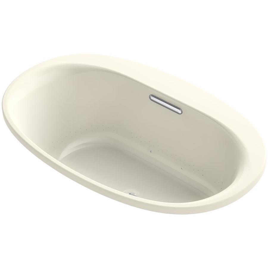 KOHLER Underscore 59.6875-in L x 35.75-in W x 21-in H Almond Acrylic 2-Person Oval Drop-in Air Bath