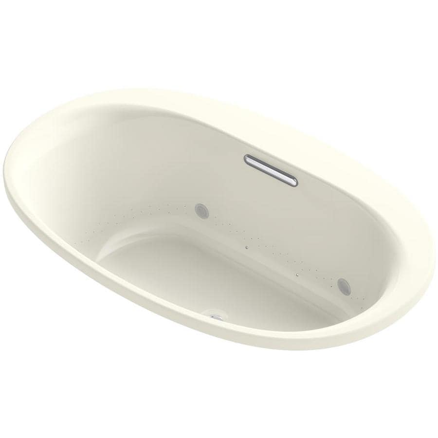 KOHLER Underscore 59.6875-in L x 35.75-in W x 21-in H Biscuit Acrylic Oval Drop-in Air Bath