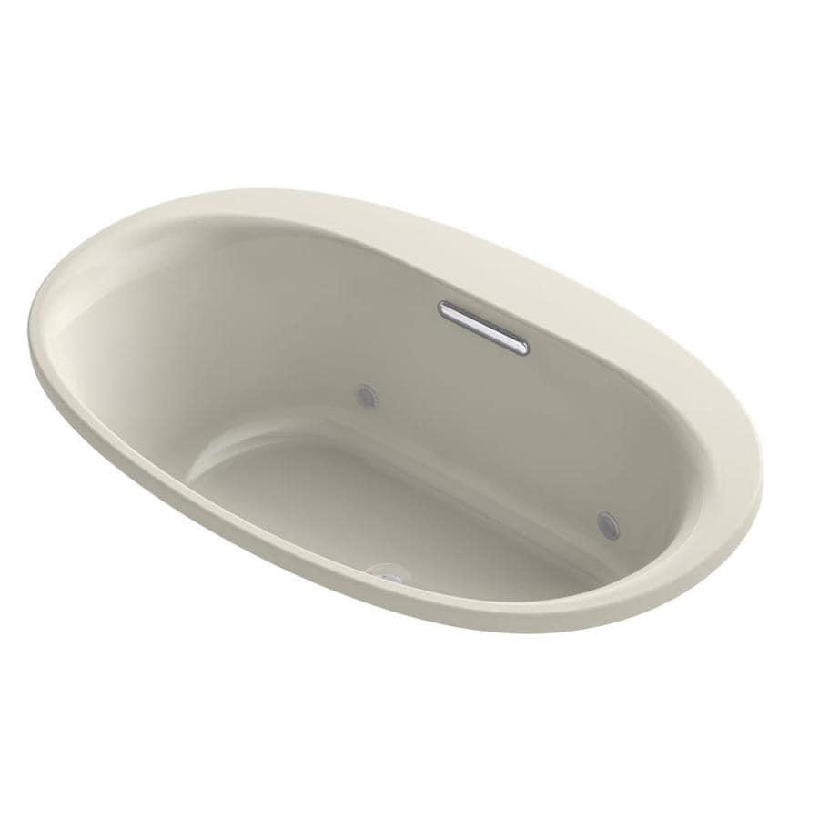 KOHLER Underscore Sandbar Acrylic Oval Drop-in Bathtub with Center Drain (Common: 36-in x 60-in; Actual: 21-in x 35.75-in x 59.6875-in)