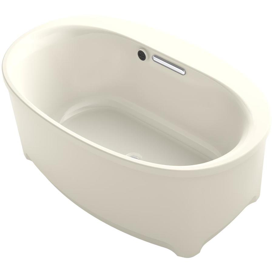 kohler underscore almond acrylic oval freestanding bathtub with center