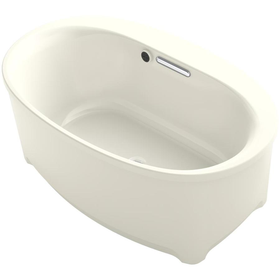 KOHLER Underscore Biscuit Acrylic Oval Freestanding Bathtub with Center Drain (Common: 36-in x 60-in; Actual: 24.375-in x 36-in x 60-in)