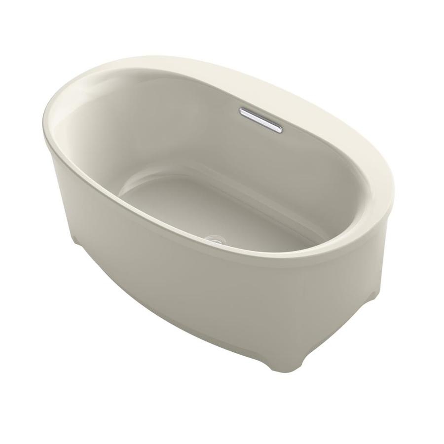 KOHLER Underscore Sandbar Acrylic Oval Freestanding Bathtub with Center Drain (Common: 36-in x 60-in; Actual: 21-in x 35.75-in x 59.6875-in)
