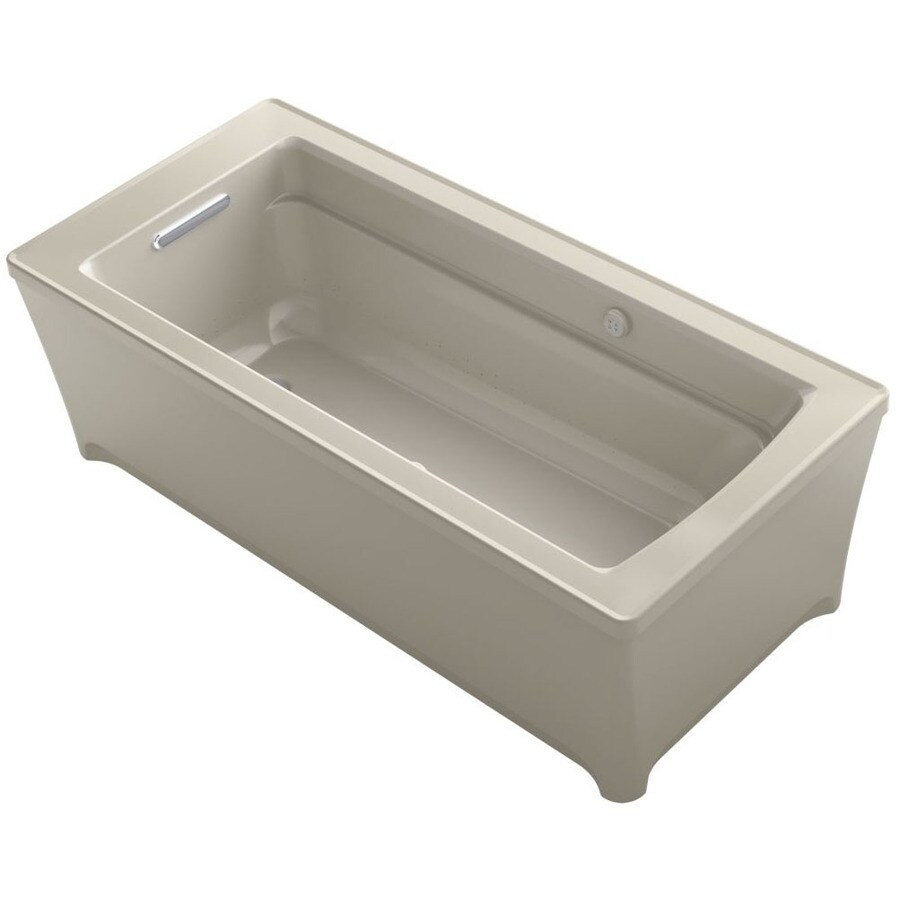 KOHLER Archer 68-in L x 32-in W x 22-in H Sandbar Acrylic Rectangular Freestanding Air Bath