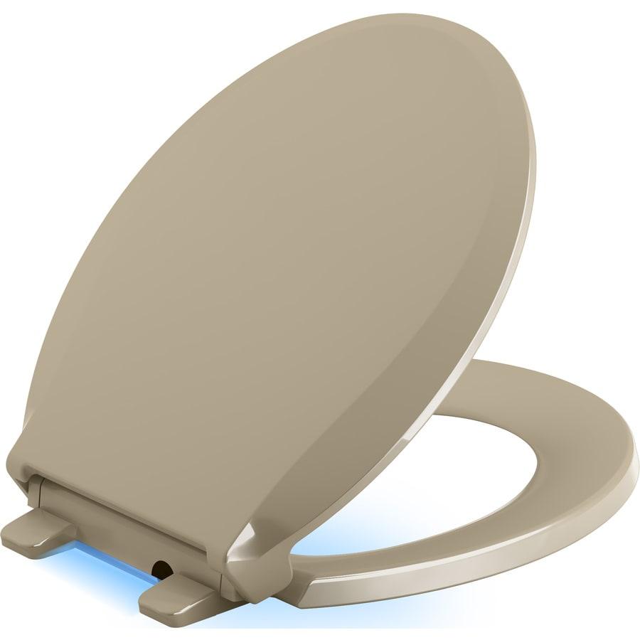 KOHLER Cachet Nightlight Mexican Sand Plastic Round Slow-Close Toilet Seat