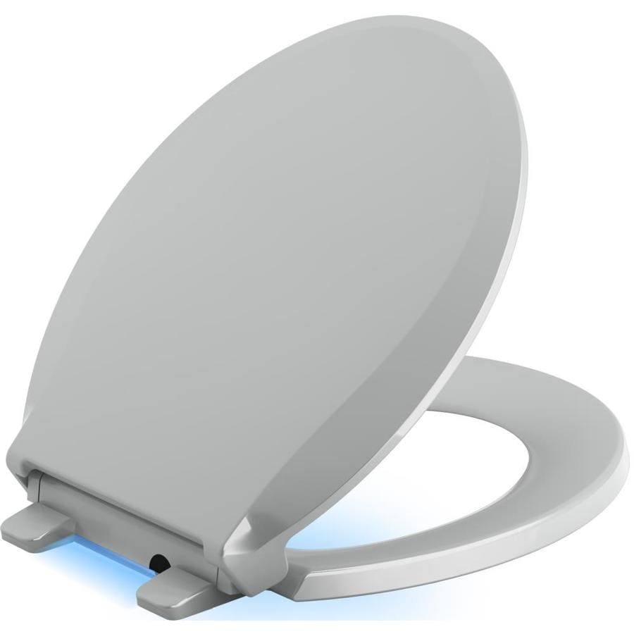 KOHLER Cachet Nightlight Ice Grey Plastic Round Slow-Close Toilet Seat