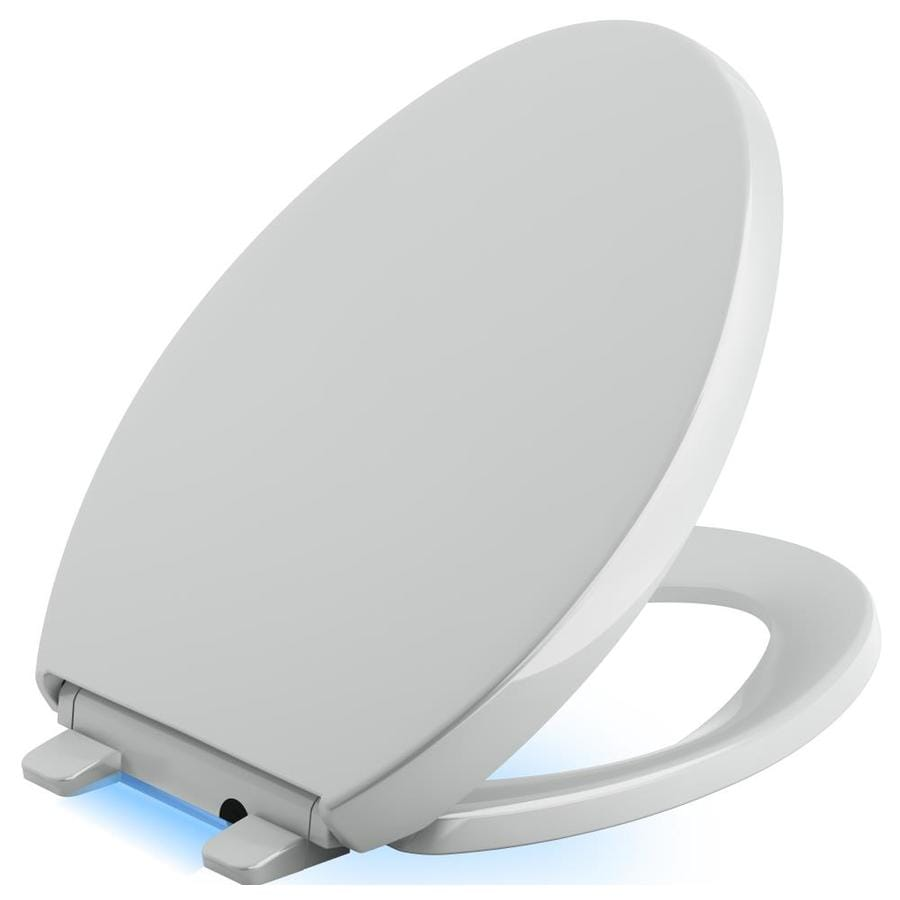 KOHLER Reveal Ice Grey Plastic Elongated Slow-Close Toilet Seat