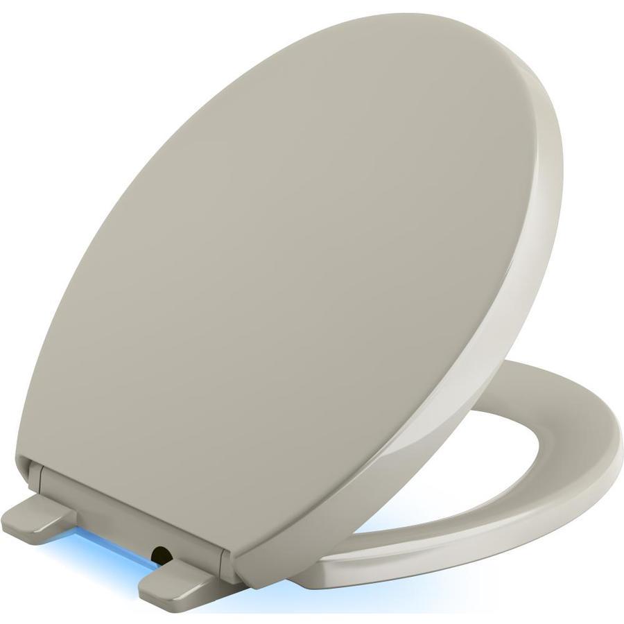 KOHLER Reveal Sandbar Plastic Round Slow-Close Toilet Seat