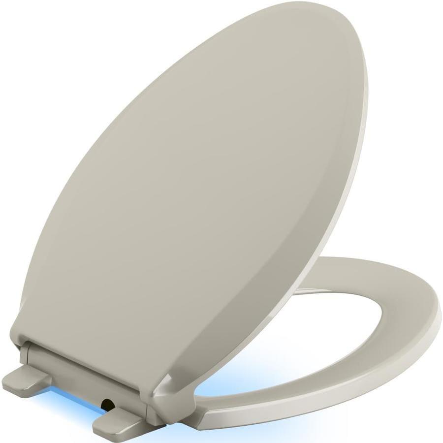KOHLER Cachet Nightlight Sandbar Plastic Elongated Slow-Close Toilet Seat