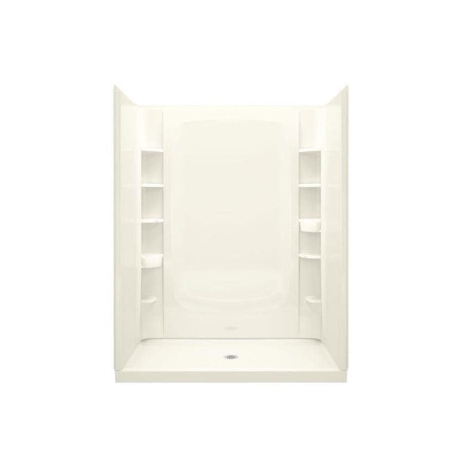 Sterling STORE+ Biscuit Vikrell Wall and Floor 4-Piece Alcove Shower Kit (Common: 60-in x 34-in; Actual: 75.75-in x 60-in x 34-in)