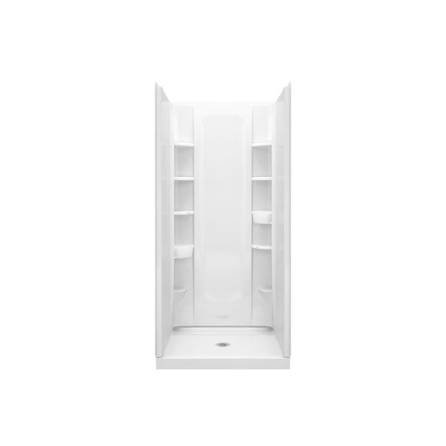 Sterling STORE+ White Vikrell Wall and Floor 4-Piece Alcove Shower Kit (Common: 36-in x 34-in; Actual: 75.75-in x 36-in x 34-in)