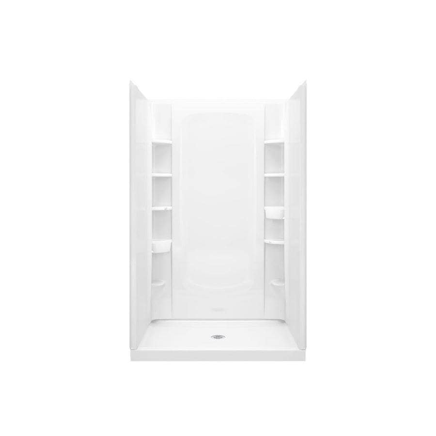 Sterling STORE+ White Vikrell Wall and Floor 4-Piece Alcove Shower Kit (Common: 48-in x 34-in; Actual: 75.75-in x 48-in x 34-in)