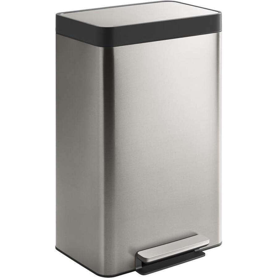 12.4 Gal 15New Kohler Stainless Steel Step Trash Can
