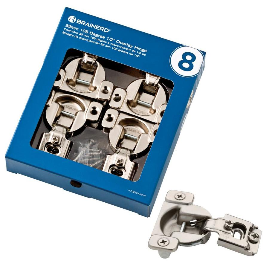 Brainerd 8-Pack 2-1/4-in x 1-3/4-in Nickel Plated Concealed Cabinet Hinges