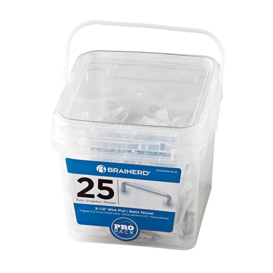 Brainerd 25-Pack 3-1/2-in Center-to-Center Satin Nickel Bar Cabinet Pulls