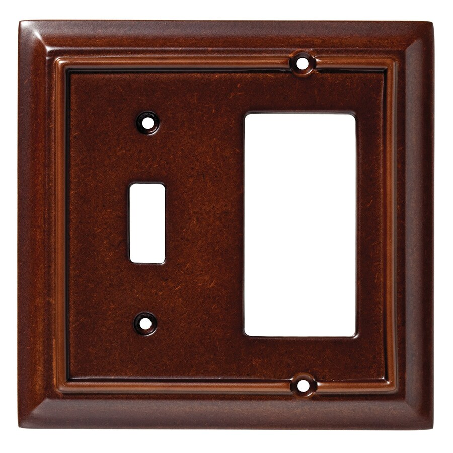 Brainerd Wood Architectural 2-Gang Espresso Single Toggle/Decorator Wall Plate
