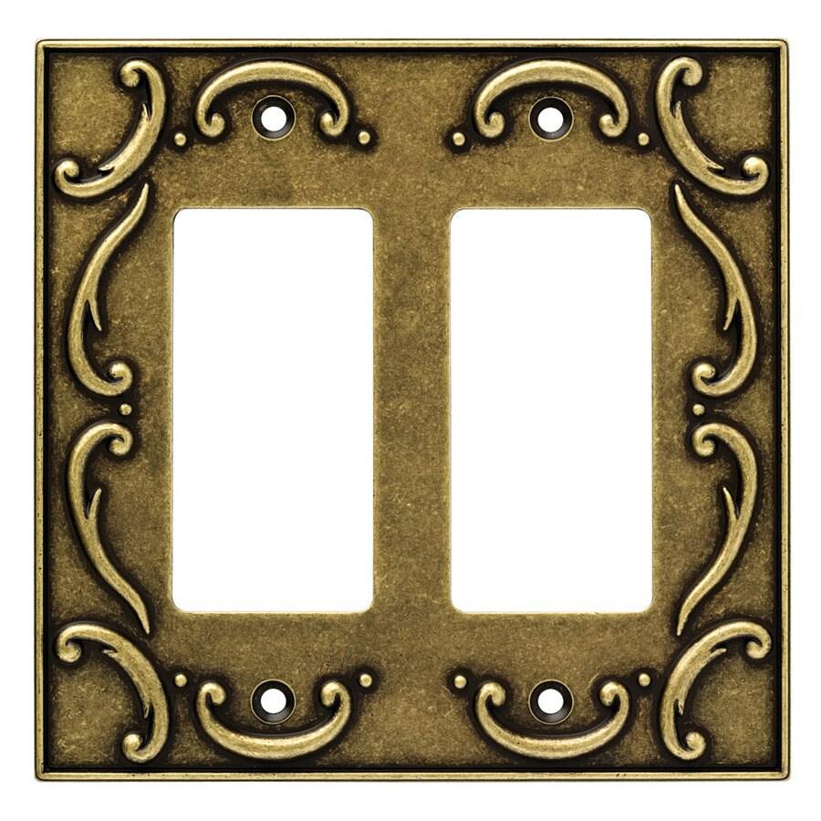 Brainerd 2-Gang Burnished Antique Brass Decorator Wall Plate