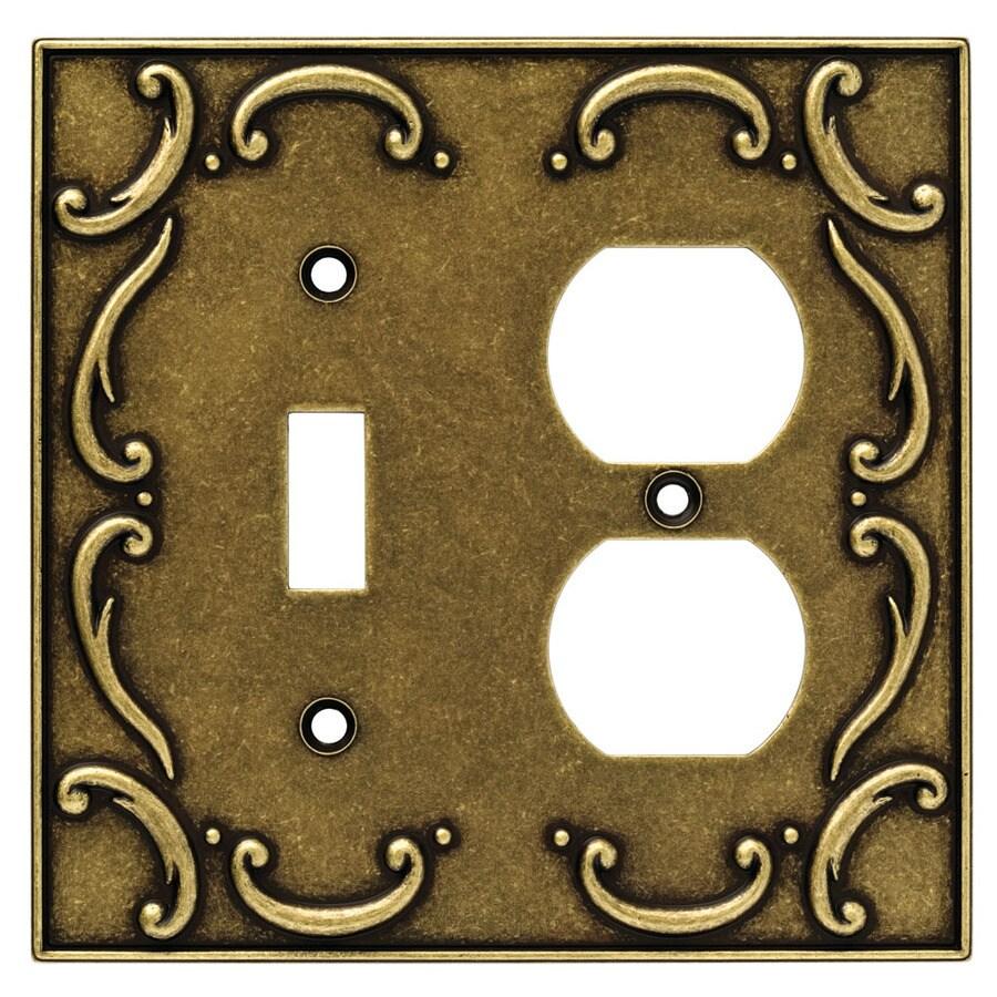 Brainerd 2-Gang Burnished Antique Brass Round Wall Plate