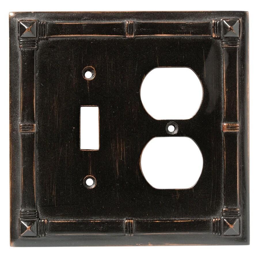 Brainerd 2-Gang Venetian Bronze Round Wall Plate