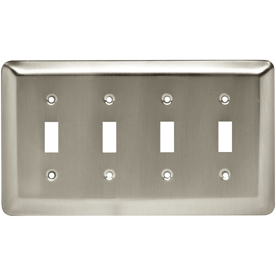 Style Selections 4-Gang Satin Nickel Toggle Wall Plate