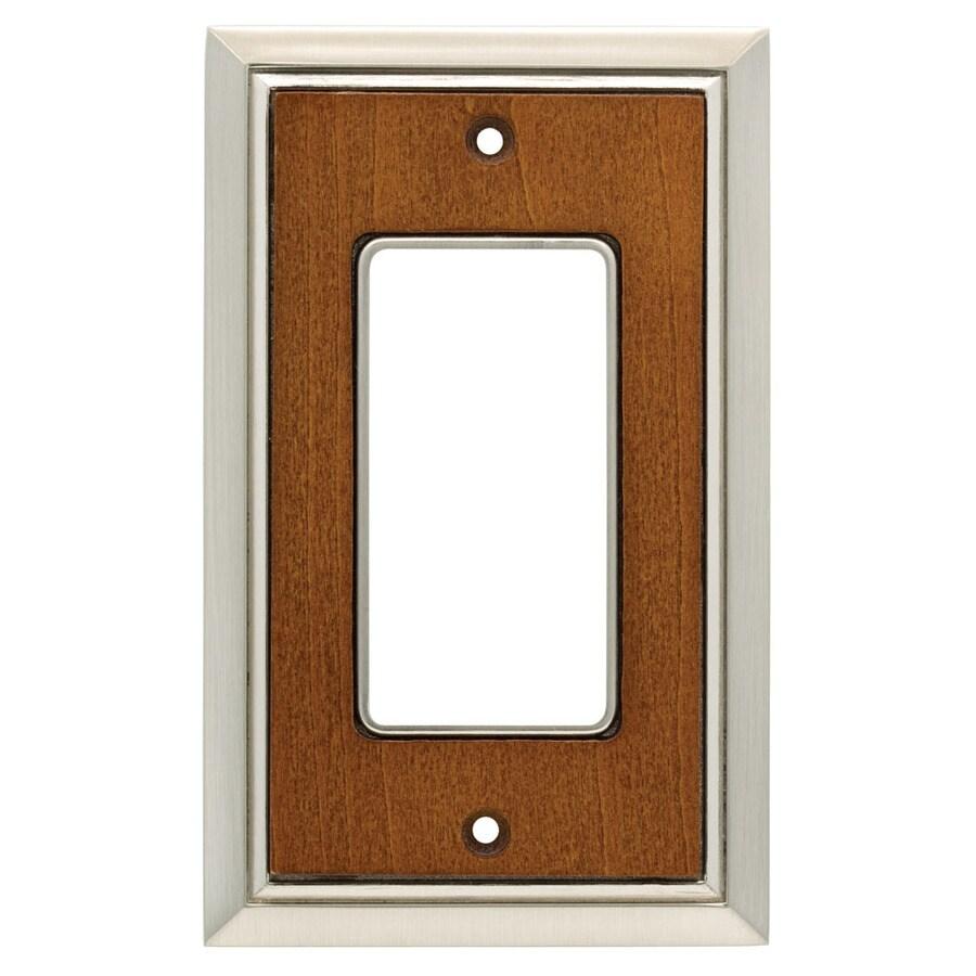 Brainerd 1-Gang Satin Nickel/Dark Caramel Decorator Wall Plate