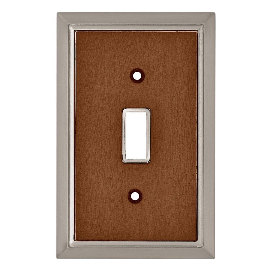 Brainerd 1-Gang Satin Nickel/Dark Caramel Toggle Wall Plate