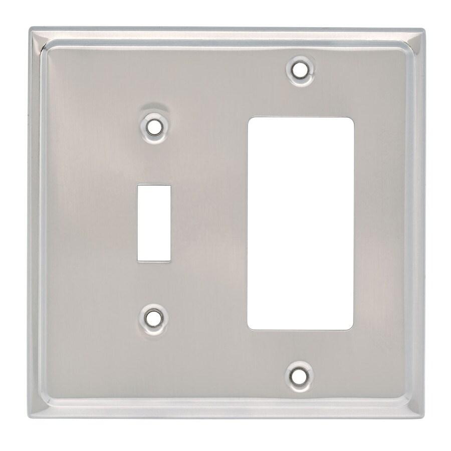Brainerd 2-Gang Satin Nickel Decorator Wall Plate
