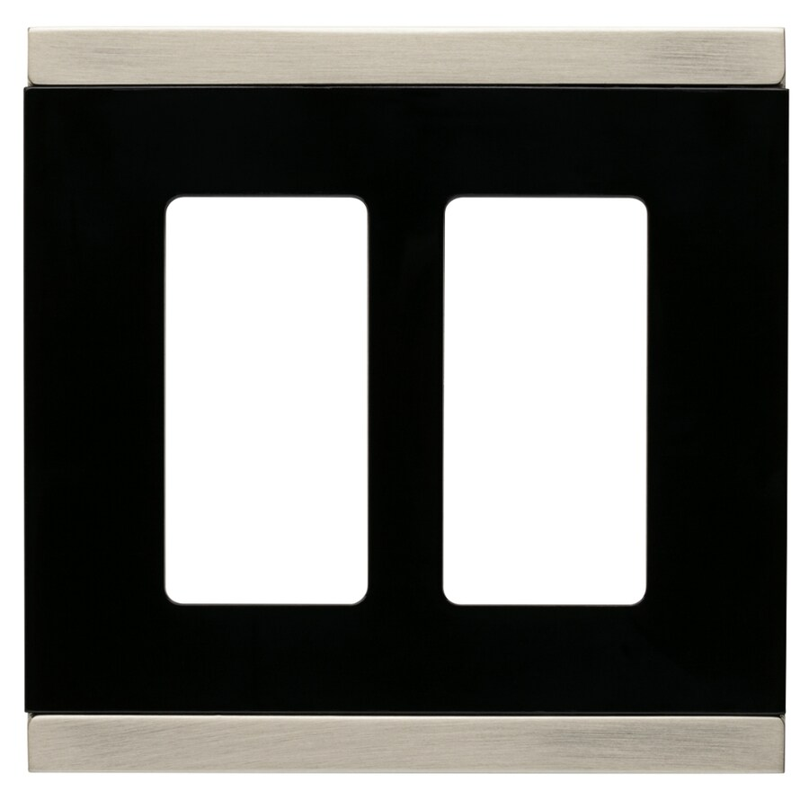 Brainerd 2-Gang Satin Nickel and Black Decorator Wall Plate