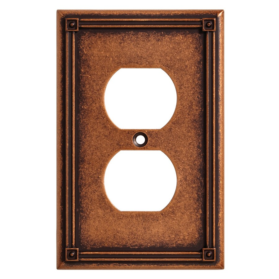Brainerd Ruston 1-Gang Sponged Copper Single Duplex Wall Plate