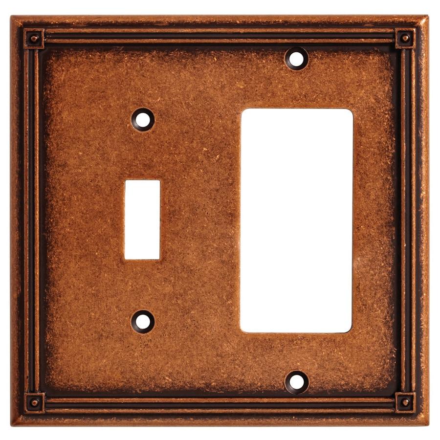 Brainerd 2-Gang Sponged Copper Combination Metal Wall Plate