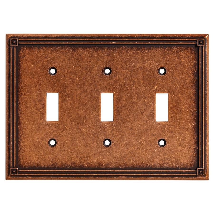 Brainerd Ruston 3-Gang Sponged Copper Triple Toggle Wall Plate
