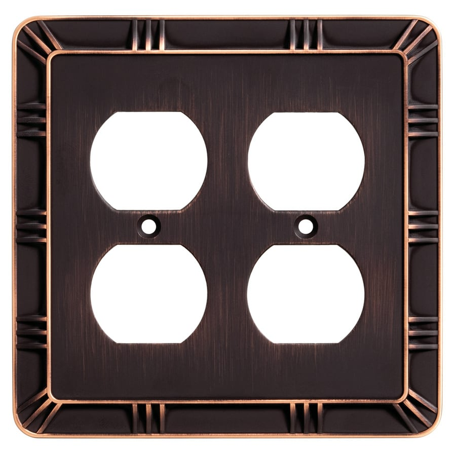Brainerd 2-Gang Bronze with Copper Highlights Round Wall Plate