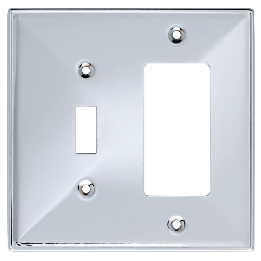 Brainerd 2-Gang Polished Chrome Combination Stainless Steel Wall Plate