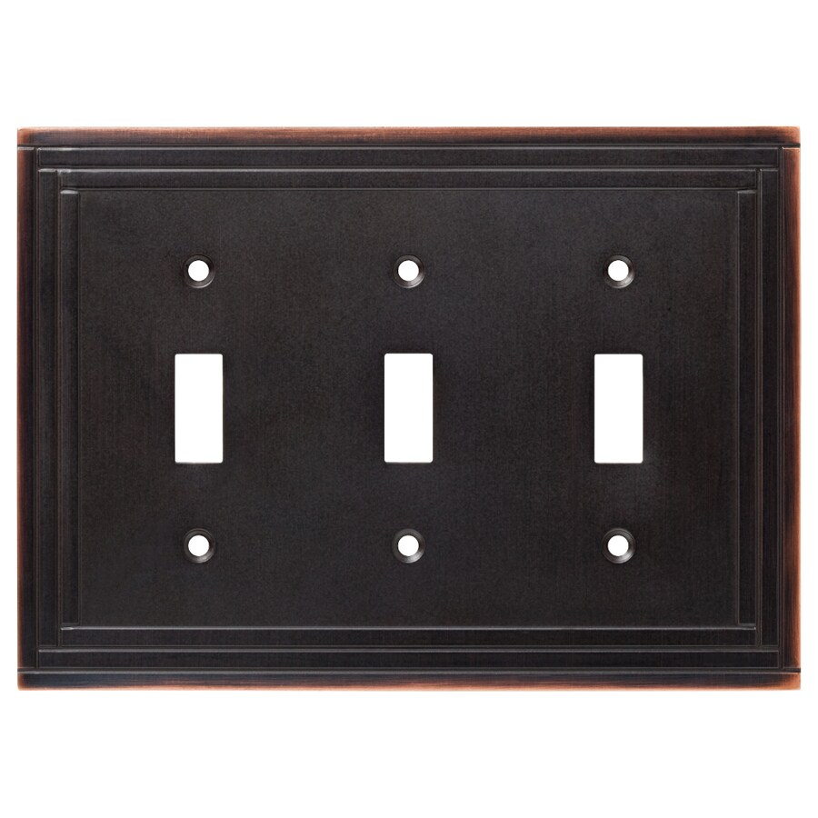 Brainerd 3-Gang Bronze with Copper Highlights Standard Toggle Metal Wall Plate