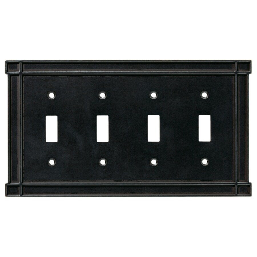 Brainerd 4-Gang Soft Iron Standard Toggle Metal Wall Plate