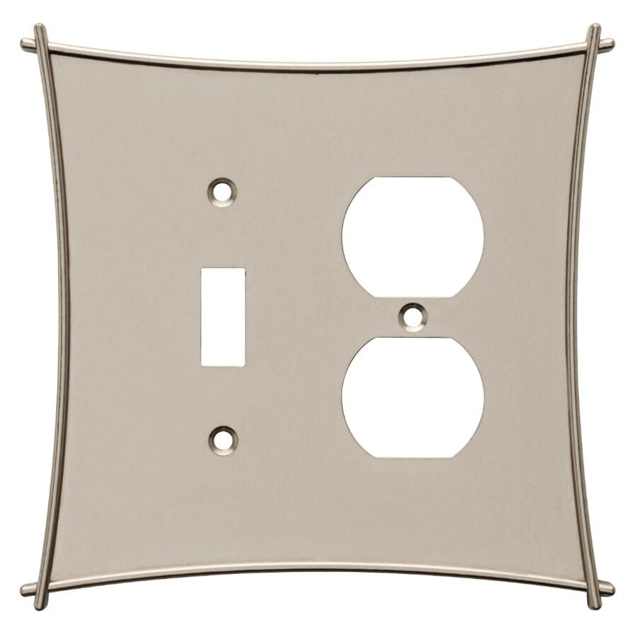 Brainerd 2-Gang Vintage Nickel Combination Metal Wall Plate
